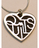 Quilt Lover's Heart Sterling Silver Necklace